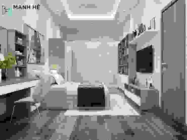 Giường ngủ đôi có hộc kéo tăng diện tích chứa đồ gọn gàng bởi Công ty TNHH Nội Thất Mạnh Hệ Hiện đại