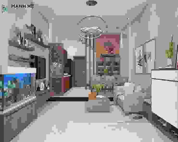 Nội thất phòng khách với màu sắc nhã nhặn bởi Công ty TNHH Nội Thất Mạnh Hệ Hiện đại Đá hoa