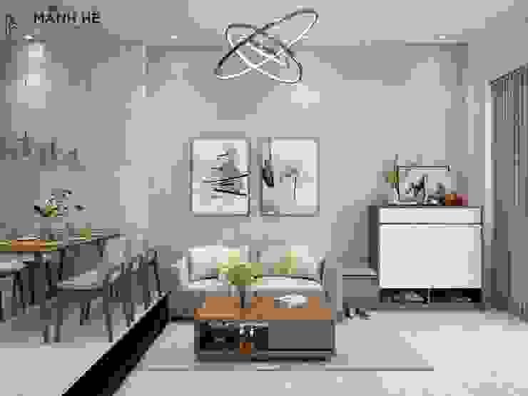 Phòng bếp thoáng đãng nhờ màu đến từ đồ nội thất gỗ bởi Công ty TNHH Nội Thất Mạnh Hệ Hiện đại Cục đá