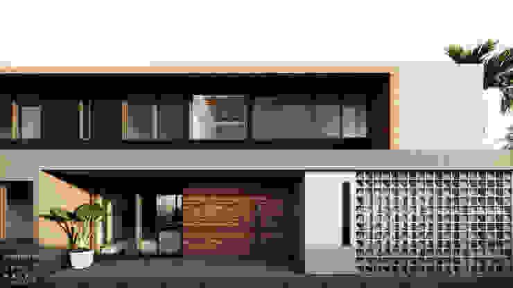Fachada Principal - Acesso e Varandas por Saulo Magno Arquiteto Moderno Madeira Efeito de madeira
