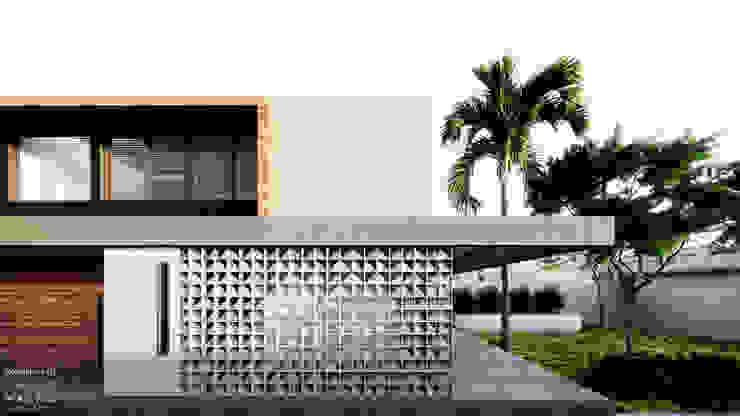 Fachada Principal - Fundos e Área de serviço por Saulo Magno Arquiteto Moderno Madeira Efeito de madeira