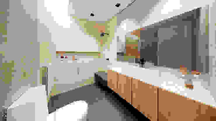 Banho Suíte Banheiros modernos por Saulo Magno Arquiteto Moderno Madeira Efeito de madeira