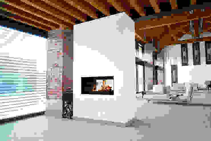 Caminetto panoramico bifacciale ad accumulo di calore Prometeo Stufe Soggiorno moderno