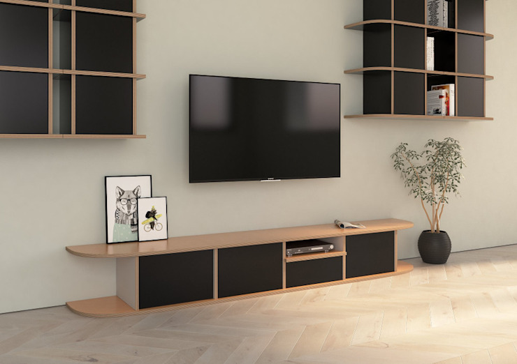 TV-Lowboard Hugo: modern  von form.bar,Modern Holzwerkstoff Transparent