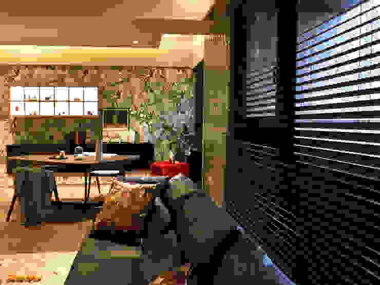 中西合璧的優雅新古典美宅| 百葉簾.蜂巢簾 空間構成:安得利設計藝術公司 根據 MSBT 幔室布緹 鄉村風 實木 Multicolored
