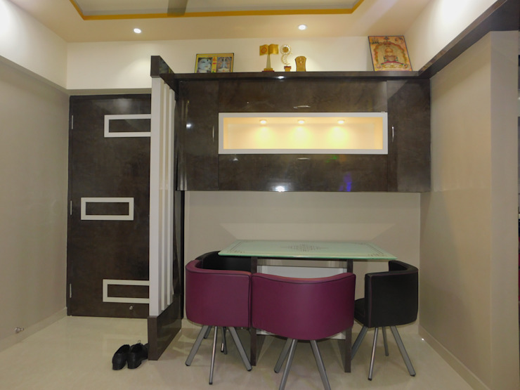 crockery unit with dining table: modern  by AXLE INTERIOR,Modern Plywood