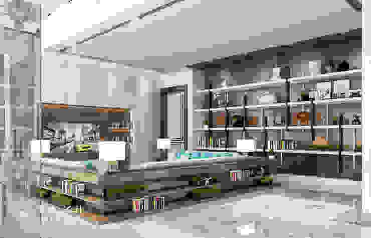 تصميم منطقة الجلوس لفيلا ديلوكس على الطراز المعاصر من Algedra Interior Design حداثي