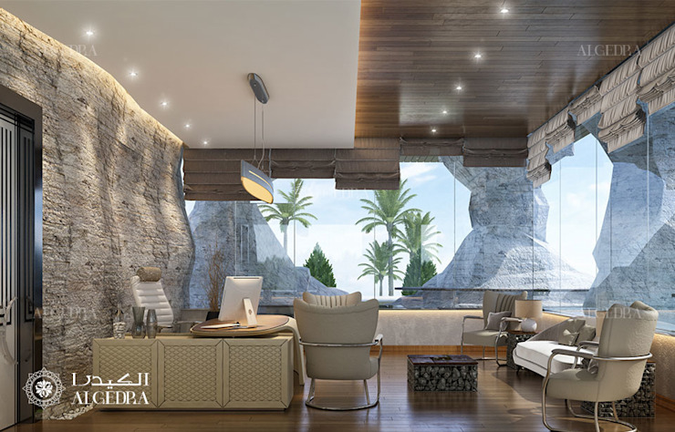 تصميم غرفة دراسة لفيلا ديلوكس على الطراز المعاص من Algedra Interior Design حداثي
