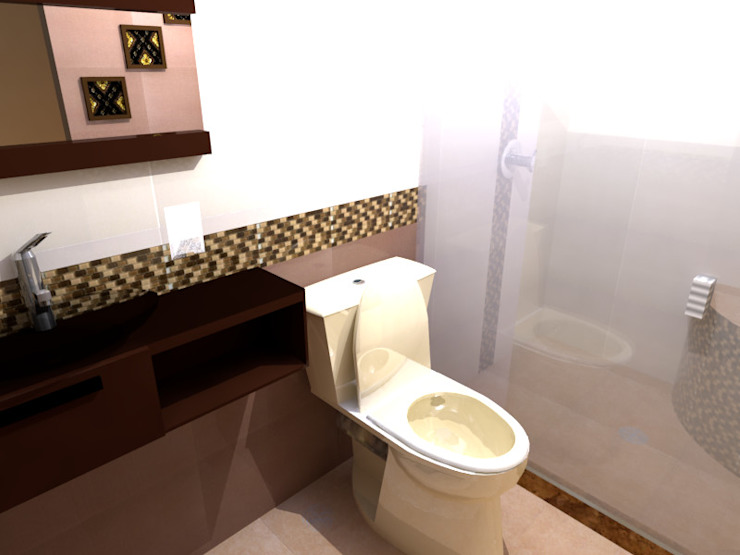 Render de la propuesta Baños modernos de EMKA Moderno Azulejos