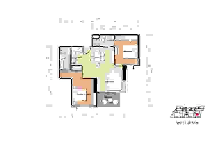 คอนโดมิเนียม เดอะ ปาล์ม บีช พัทยา : ทะเลเมดิเตอร์เรเนียน  โดย Glam interior- architect co.,ltd, เมดิเตอร์เรเนียน แผ่น MDF