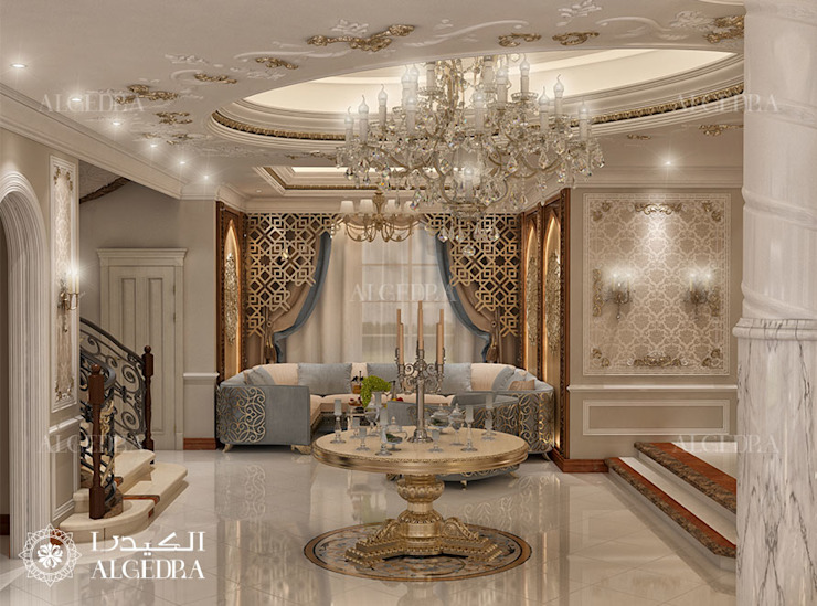 Hall interior design for Classic Style Villa in Abu Dhabi Classic style corridor, hallway and stairs by Algedra Interior Design Classic