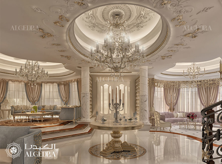 Hall interior design for Luxury Classic Style Villa in Abu Dhabi Classic style corridor, hallway and stairs by Algedra Interior Design Classic
