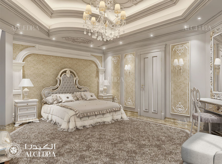 Master Bedroom interior design for Luxury Classic Style Villa in Abu Dhabi Classic style bedroom by Algedra Interior Design Classic