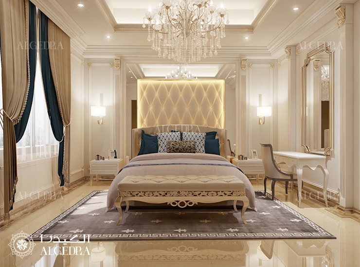 Guest Bedroom interior design for Luxury Classic Style Villa in Abu Dhabi Classic style bedroom by Algedra Interior Design Classic
