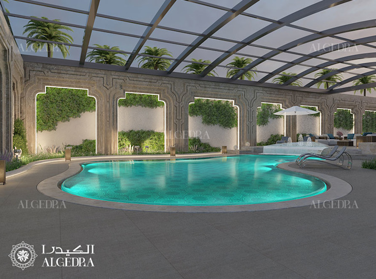 Indoor Swimming Pool for Luxury Classic Style Villa in Abu Dhabi by Algedra Interior Design Classic