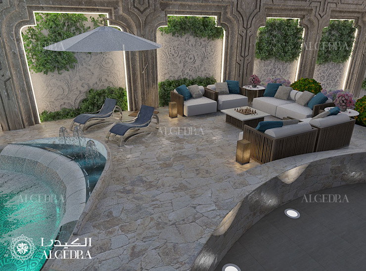 Patio by the Pool for Luxury Classic Style Villa in Abu Dhabi by Algedra Interior Design Classic