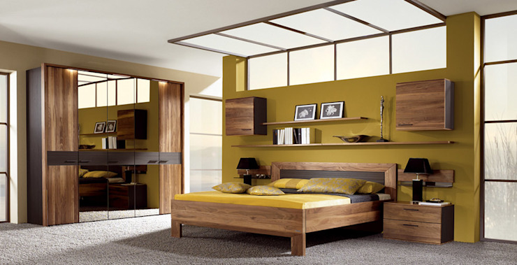 Chambre à coucher en noyer   Design et fabrication en Allemagne par Imagine Outlet Moderne Bois Effet bois