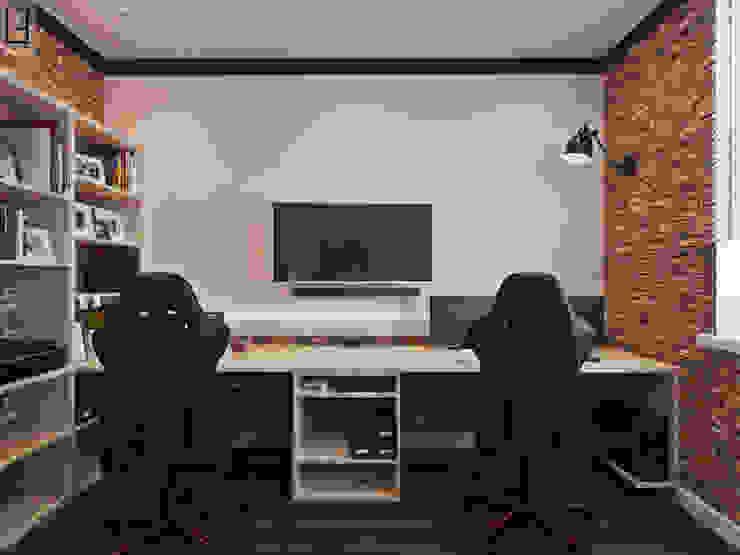 Кабинет Рабочий кабинет в стиле лофт от L.E.DESIGNINTERIOR Лофт