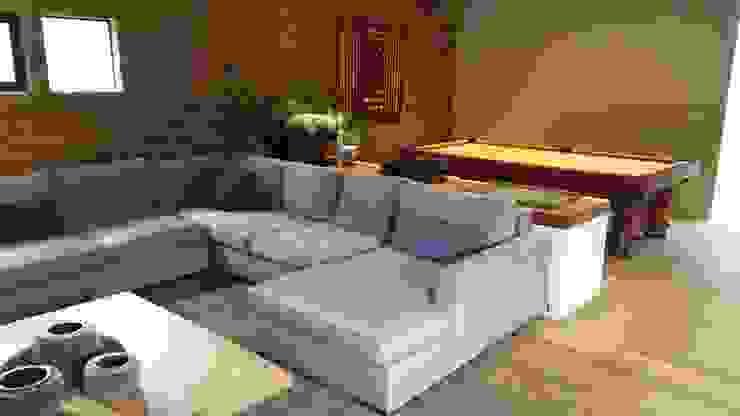Sala Modular con Chaise Lounge de ACY Diseños & Muebles Moderno Textil Ámbar/Dorado