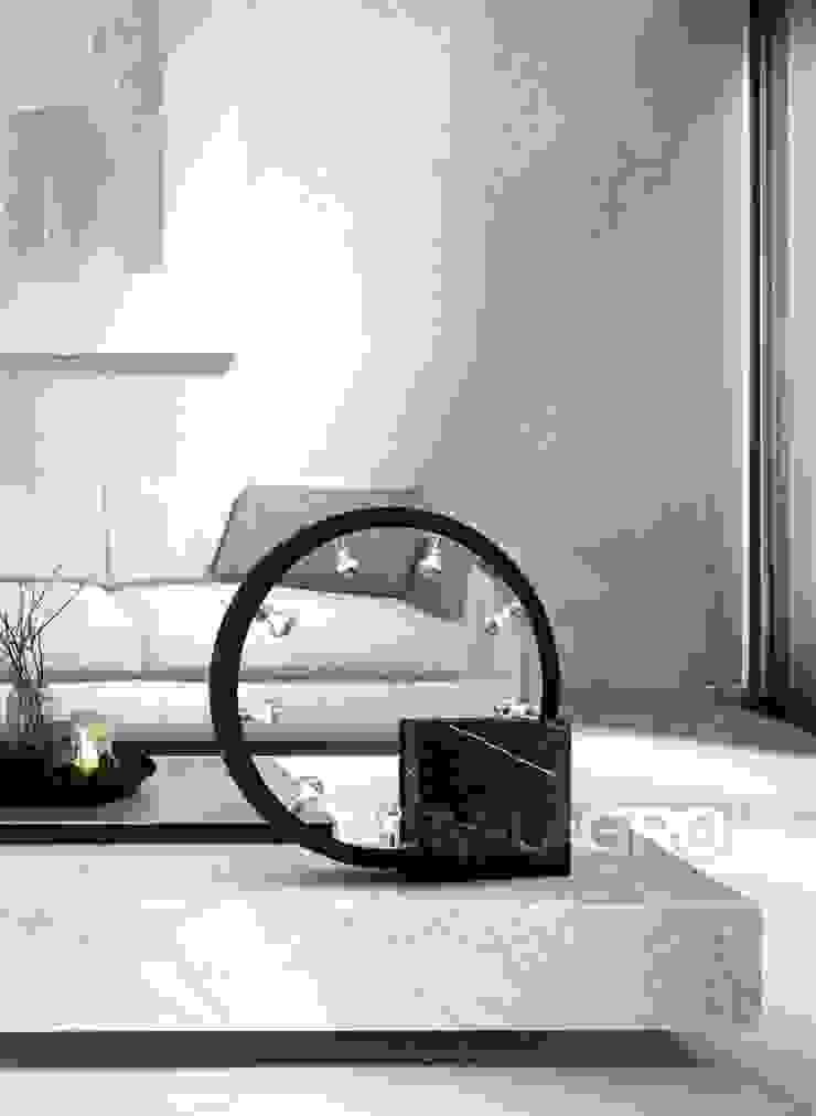 Designer end table lamp made of black marble Salas de estilo moderno de Luxury Chandelier Moderno Mármol