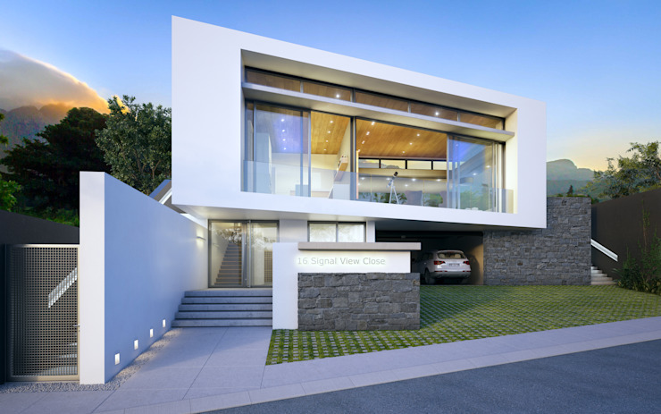 Street facade. Parking and main entrance to the house is at street level with the main living spaces elevated one storey up to provide security while being able to open up towards magnificent views towards the atlantic ocean Green Evolution Architecture Detached home Concrete White