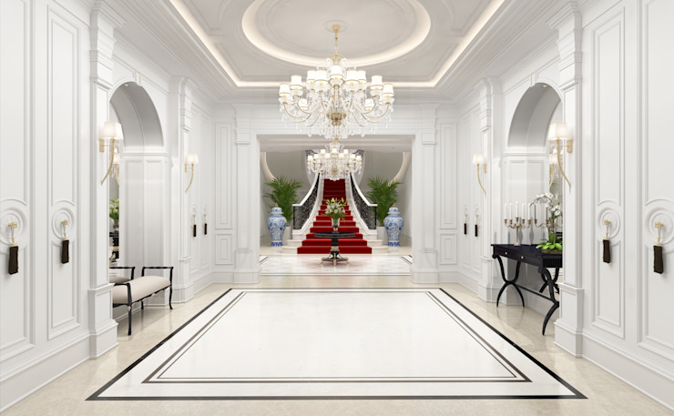 Entrance Hall Classic style corridor, hallway and stairs by Sia Moore Archıtecture Interıor Desıgn Classic