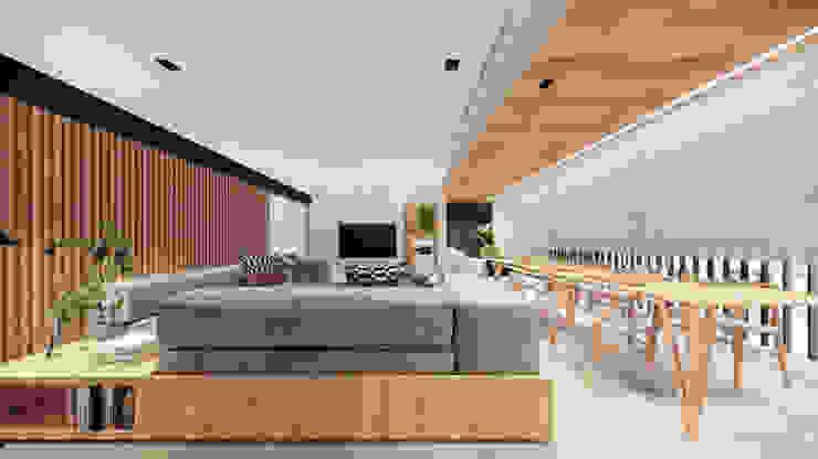 Living - - Integração Estar, jantar e varanda Saulo Magno Arquiteto Salas de estar minimalistas Madeira Branco