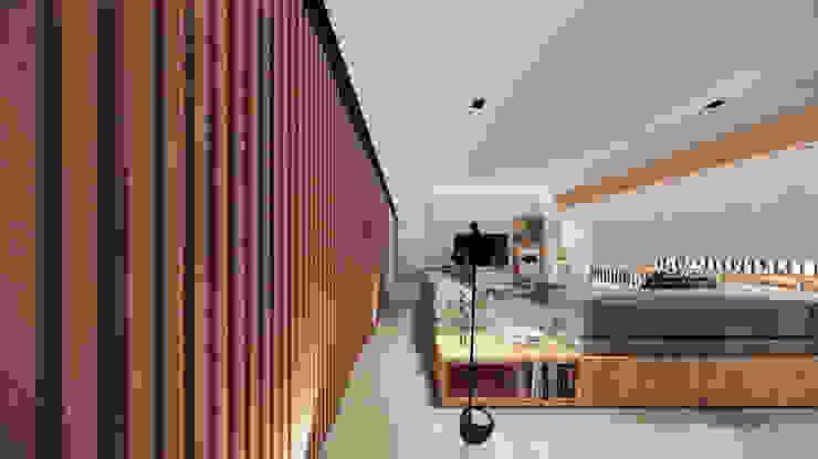 Living - Painel de Madeira Saulo Magno Arquiteto Salas de estar minimalistas Madeira Branco