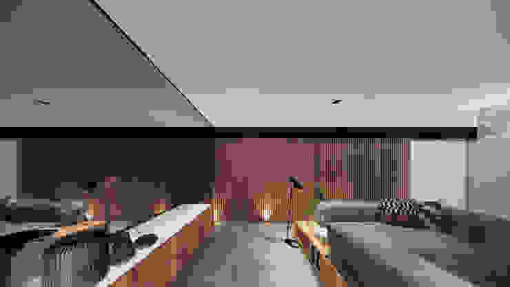 Living - Painel de Madeira e espelho Saulo Magno Arquiteto Salas de estar minimalistas Madeira Branco