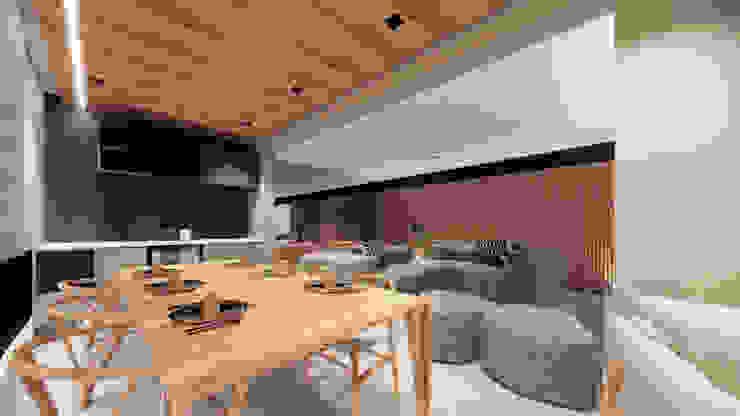 Varanda - espaço de jantar Saulo Magno Arquiteto Varandas Madeira Cinza