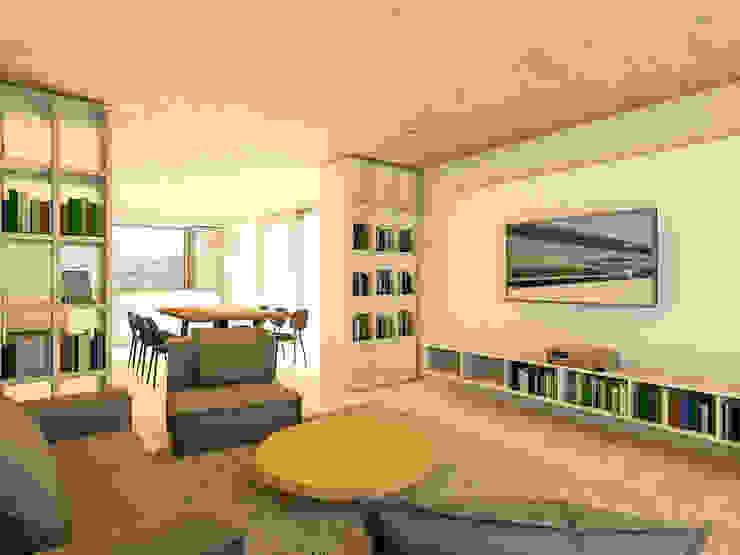 Wohnbereich mit Blick in Küche Steffen Wurster Freier Architekt Moderne Wohnzimmer Massivholz Beige