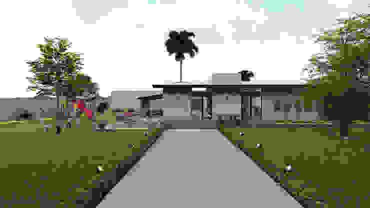 Fachada Posterior Bar y Área de Jardín Merarki Arquitectos Casas modernas