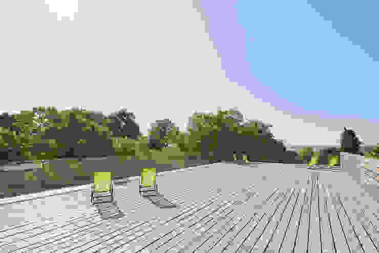 Dachterrasse Steffen Wurster Freier Architekt Moderne Hotels Massivholz Beige