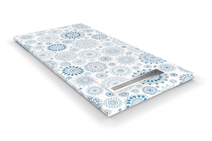 Loop, el plato de ducha más de moda en este momento del año: la geometría en azules. de Bosnor, S.L. Clásico