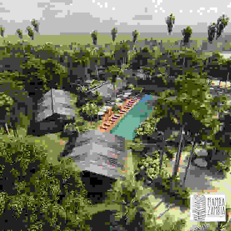 MAMBAZAMBIA – ECOHOUSING Habitaciones de estilo tropical de TORO VARGAS Asesoria & Construccion s.a.s Tropical