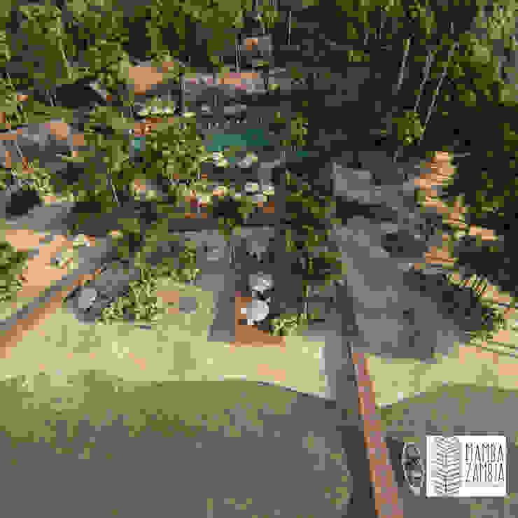 MAMBAZAMBIA – ECOHOUSING Pasillos, vestíbulos y escaleras de estilo tropical de TORO VARGAS Asesoria & Construccion s.a.s Tropical
