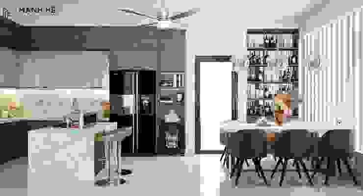 Tủ rượu âm tường có cửa kính tăng tính thẩm mỹ tuyệt đối Công ty TNHH Nội Thất Mạnh Hệ Nhà bếp phong cách Bắc Âu