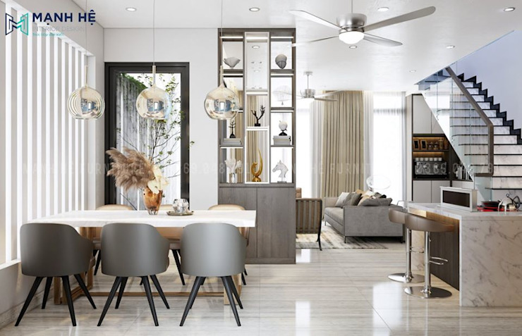 Bộ bàn ăn 6 ghế bọc da êm ái cho bữa cơm gia đình ấm cúng Công ty TNHH Nội Thất Mạnh Hệ Phòng ăn phong cách Bắc Âu