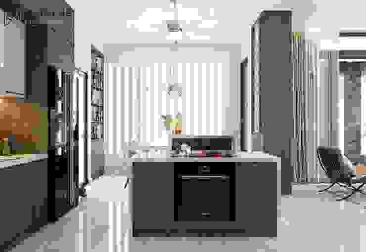 Đảo bếp có ô chứa lò nướng gọn gàng Công ty TNHH Nội Thất Mạnh Hệ Nhà bếp phong cách Bắc Âu
