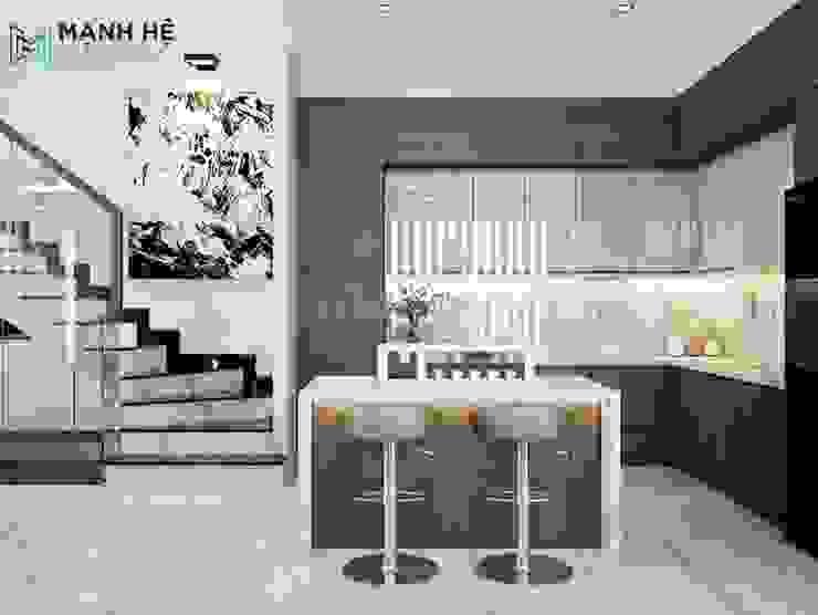 Hệ tủ bếp chữ L lớn cho nhà phố hoành tráng Công ty TNHH Nội Thất Mạnh Hệ Phòng ăn phong cách Bắc Âu