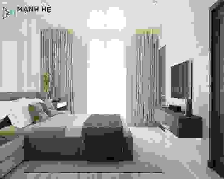 Kệ tivi treo tường phòng ngủ đơn giản nhưng rất sang trọng Công ty TNHH Nội Thất Mạnh Hệ Phòng ngủ phong cách Bắc Âu