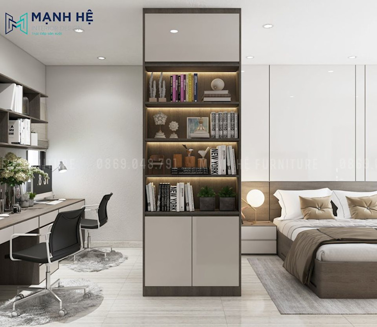 Kệ trang trí phòng ngủ tích hợp chung tủ quần áo gỗ công nghiệp Công ty TNHH Nội Thất Mạnh Hệ Phòng ngủ nhỏ