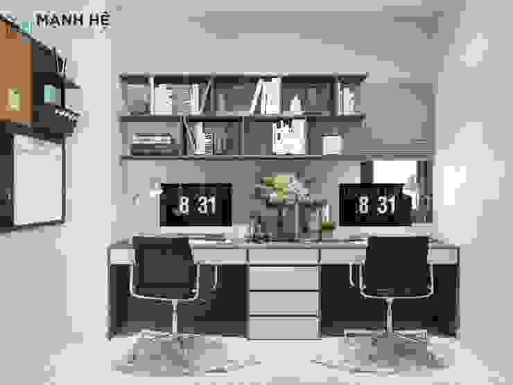 Bàn làm việc đôi được đo đạc, sản xuất vừa khít với chiều ngang của căn phòng Công ty TNHH Nội Thất Mạnh Hệ Phòng ngủ phong cách Bắc Âu