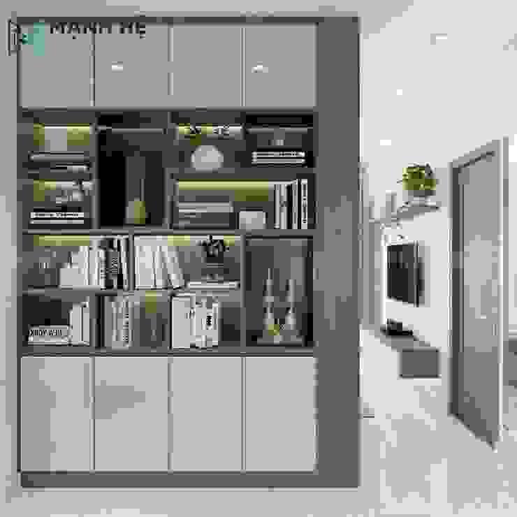 Kệ trang trí phòng ngủ tích hợp chung tủ quần áo gỗ công nghiệp Công ty TNHH Nội Thất Mạnh Hệ Phòng ngủ phong cách Bắc Âu