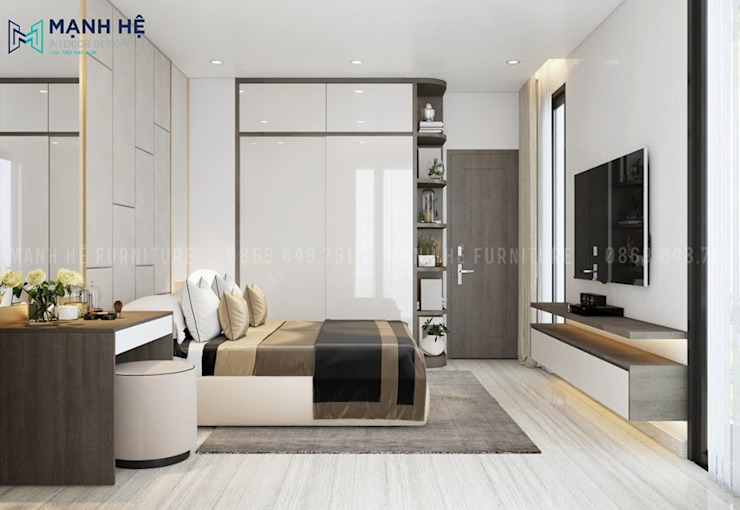 Tủ quần áo công nghiệp cửa lùa kết hợp kệ trang trí bo góc nghệ thuật Công ty TNHH Nội Thất Mạnh Hệ Phòng ngủ nhỏ