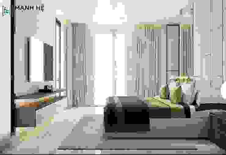 Thảm trải sàn lớn được đặt ngay trung tâm phòng tạo điểm nhấn đặc trưng cho phòng ngủ master Công ty TNHH Nội Thất Mạnh Hệ Phòng ngủ nhỏ