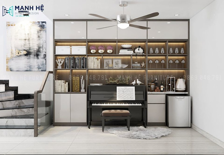 Kệ tủ trang trí lớn có ô chứa đàn piano sang trọng Công ty TNHH Nội Thất Mạnh Hệ Phòng ngủ phong cách Bắc Âu