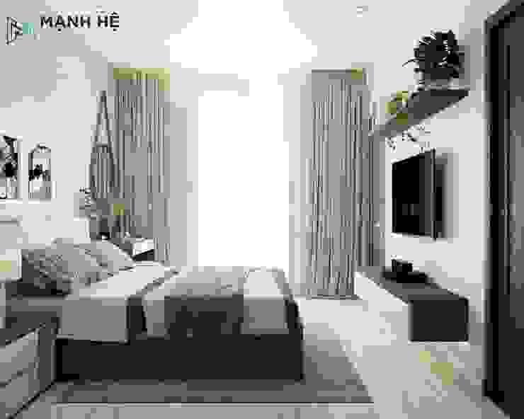 Bên dưới kệ tivi treo tường đánh đèn vàng nhẹ nhàng Công ty TNHH Nội Thất Mạnh Hệ Phòng ngủ nhỏ