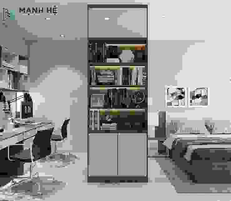 Bộ tủ quần áo tích hợp kệ trang trí và kệ sách đem đến nét độc đáo Công ty TNHH Nội Thất Mạnh Hệ Phòng ngủ nhỏ