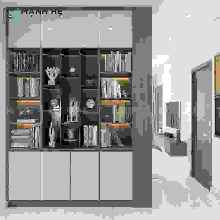 Tận dụng mặt sau tủ quần áo làm kệ tủ trang trí góc làm việc Công ty TNHH Nội Thất Mạnh Hệ Phòng khách phong cách Bắc Âu
